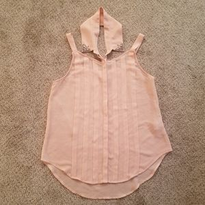 Sheer peach tank with collar blouse